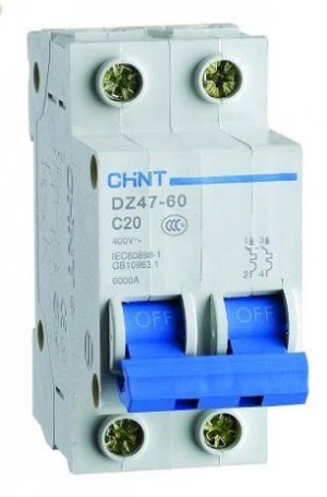 Miniature Circuit Breaker 2P(220V), Rated Current 20A